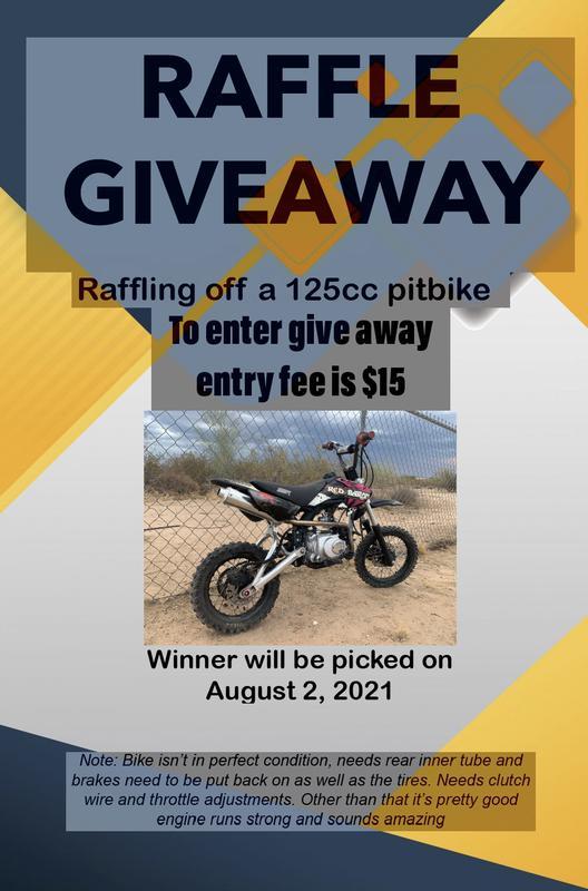 125cc pitbike raffle giveaway!!!