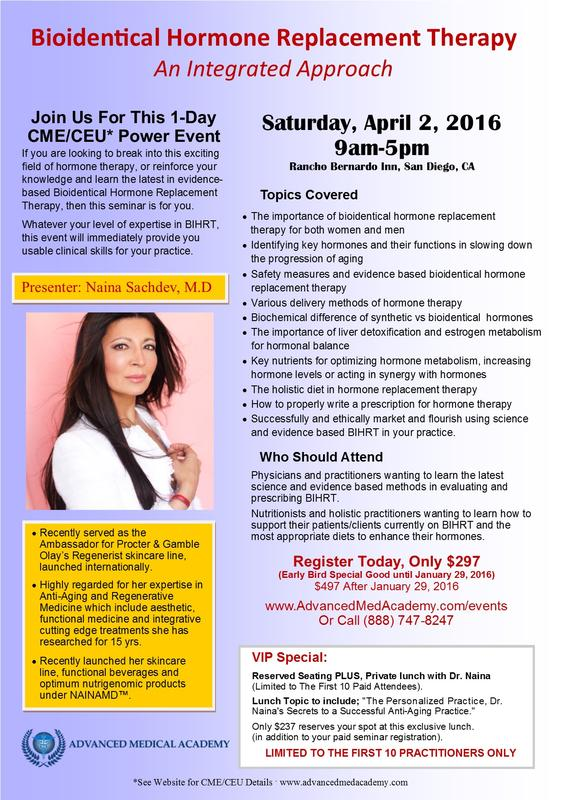 1-Day Bio-Identical Hormone Replacement Therapy Seminar