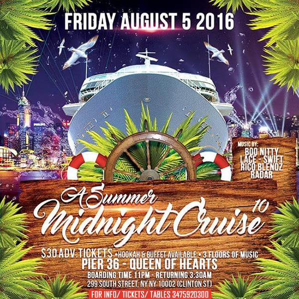 NYC Boat Party Summer Midnight Cruise at Queen of Hearts