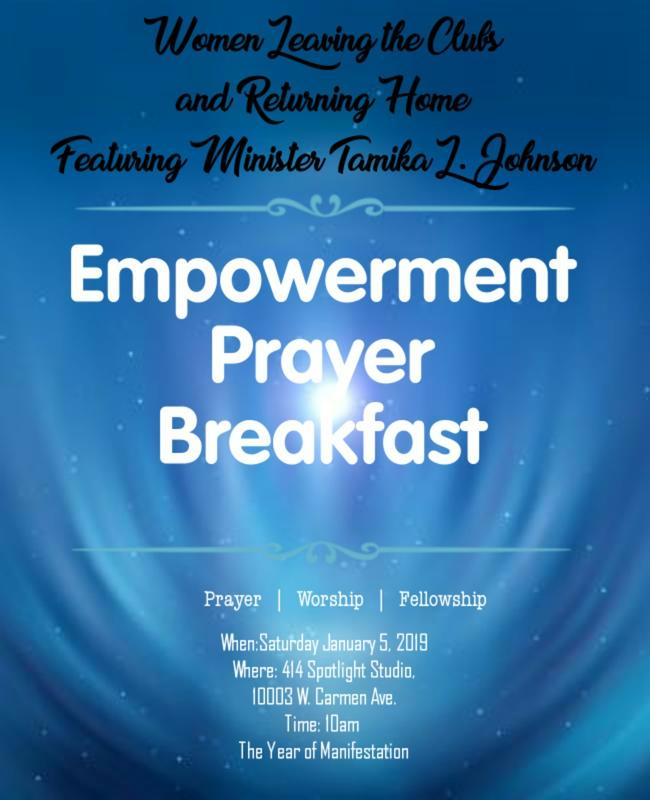 Women Leaving the Clubs and Returning Home Empowerment Prayer Breakfast