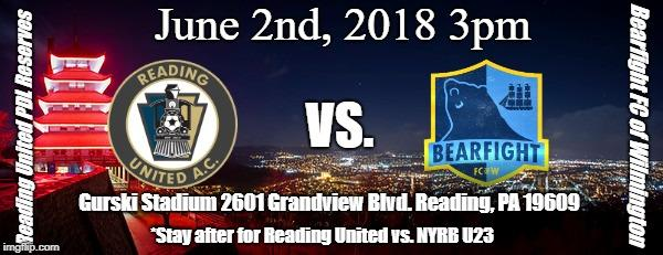 Reading United PDL Reserves vs. Bearfight FC of Wilmington