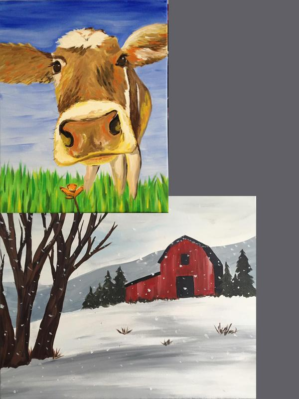 A Thirst For Art at NMS~FFA Fundraiser {Brown Cow or Winter Red Barn}