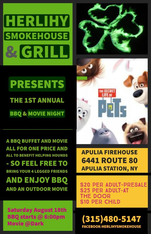1st Annual BBQ & Outdoor Movie Night - Benefiting Helping Hounds