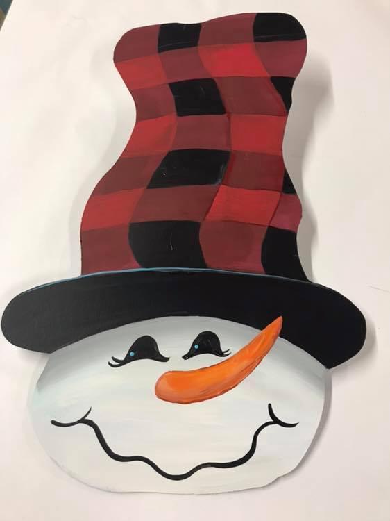 Metal Red & Black Hatted Snowman w/Robin Jan 17