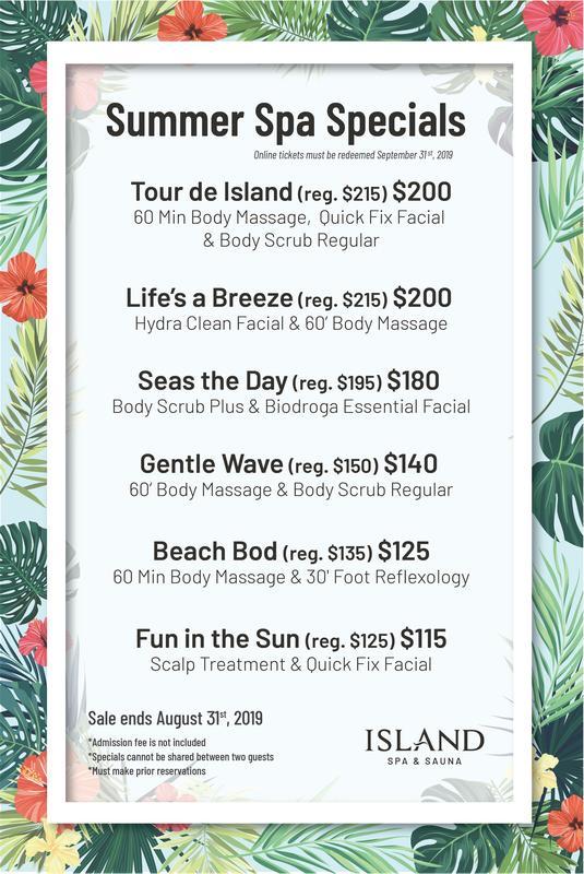 2019 Summer Spa Specials