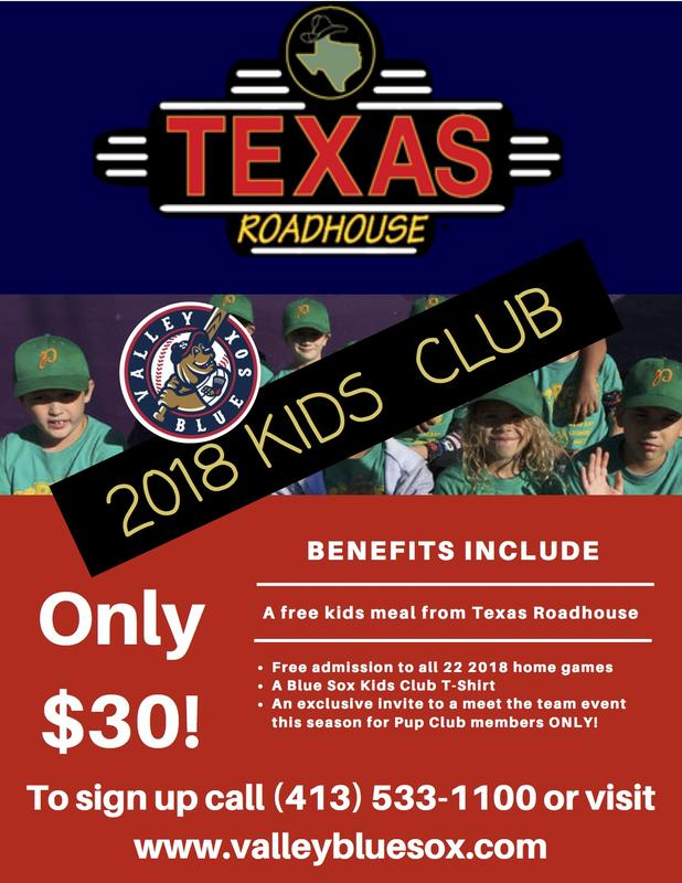 Blue Sox Kids Club Presented by Texas Roadhouse