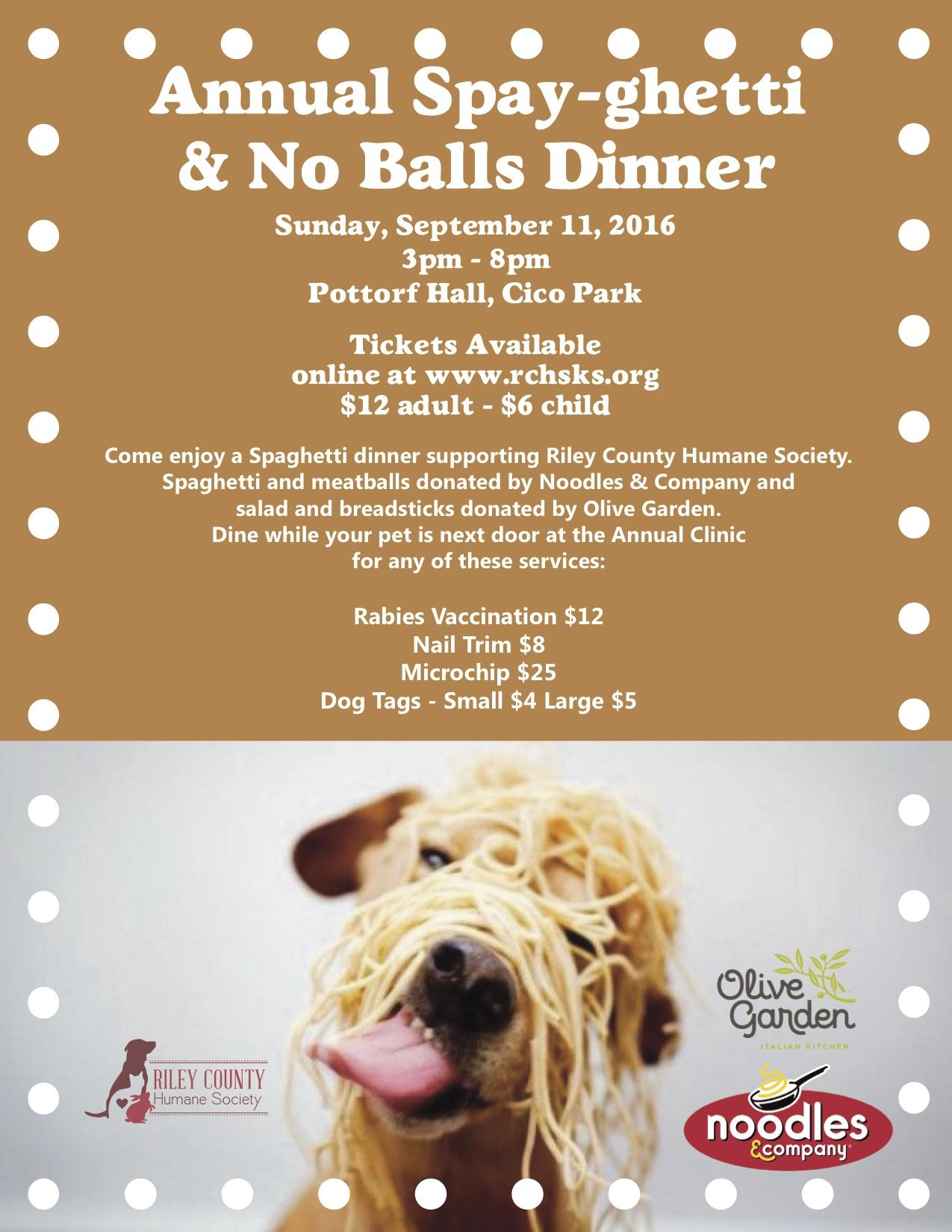 Spay-ghetti and No Balls Dinner Tickets in Manhattan, KS, United States