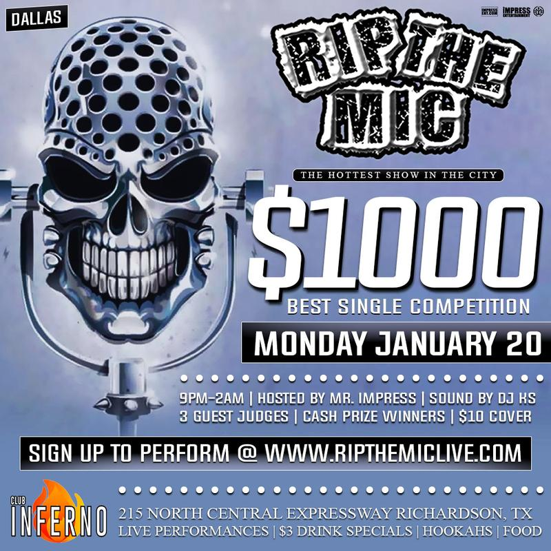 RIP THE MIC LIVE $1000 BEST SINGLE COMPETITION (DALLAS, TX)
