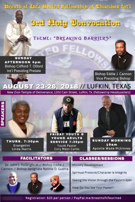 Breath of Life United Fellowship of Churches Int'l - 3rd Holy Convocation 2018