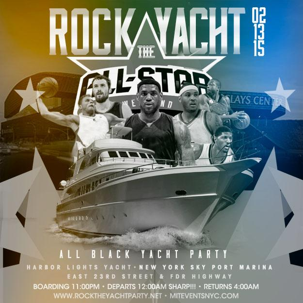 ROCK THE YACHT ALL STAR WEEKEND 2015 ALL BLACK YACHT PARTY