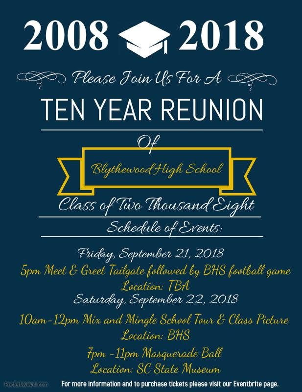 Blythewood High School Class of 2008 10 Year Reunion