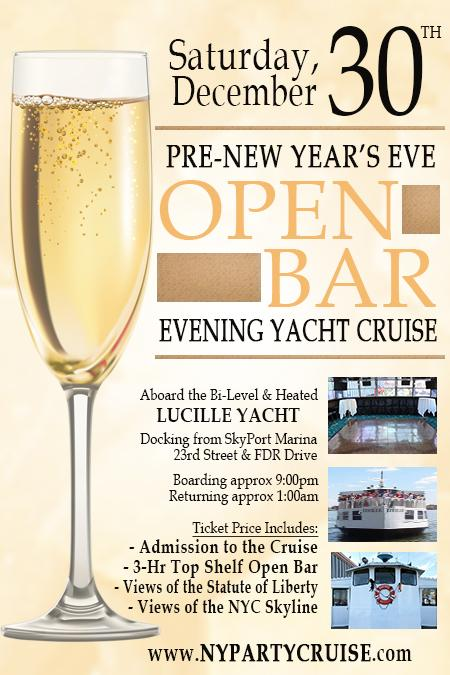 12/30/17 - Pre-New Year's Eve Open Bar Cruise