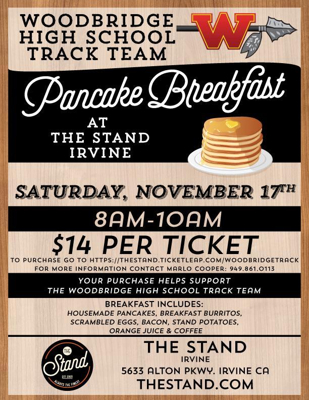 Woodbridge High School Track Team - Pancake Breakfast Fundraiser