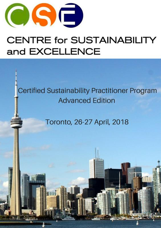 CERTIFIED SUSTAINABILITY PRACTITIONER PROGRAM, ADVANCED EDITION 2018 – TORONTO APRIL 26-27, 2018