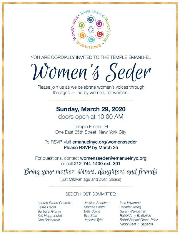 Temple Emanu-El Women's Seder