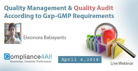 Quality Audit According to Gxp-GMP Requirements 2018