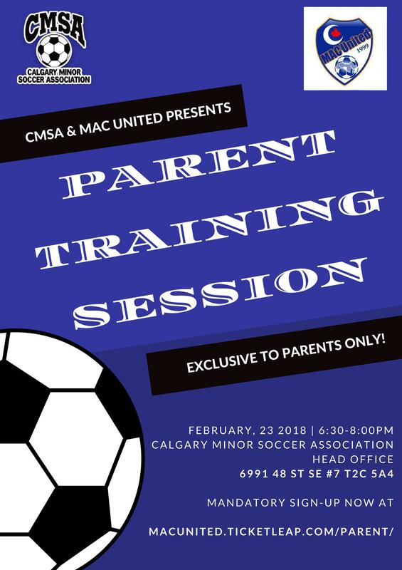 MAC UNITED PARENT SOCCER TRAINING SESSION