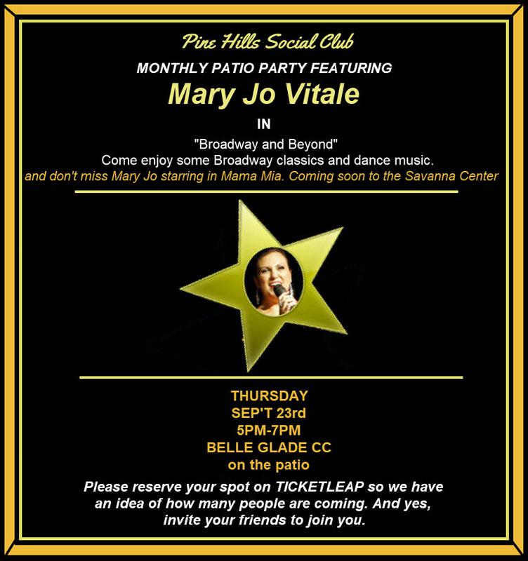 SEPT PATIO PARTY STARRING MARY JO VITALE IN BROADWAY AND BEYOND