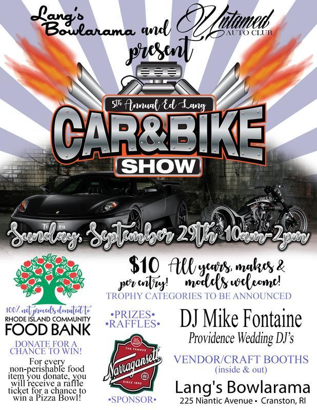 5th Annual Ed Lang Memorial Car, Bike & Vendor show to benefit the RI Community Food Bank