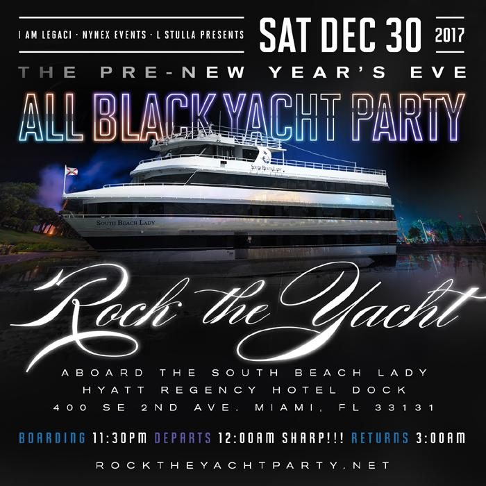 Rock the Yacht 2017 the Pre-New Year's Eve All Black Yacht Party