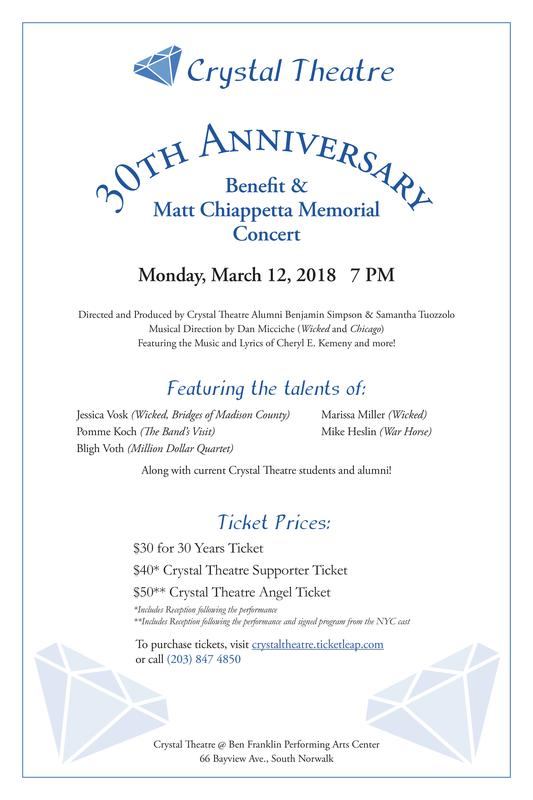 30th Anniversary and Matthew Chiappetta Memorial Benefit Concert featuring Broadway and Alumni Performers