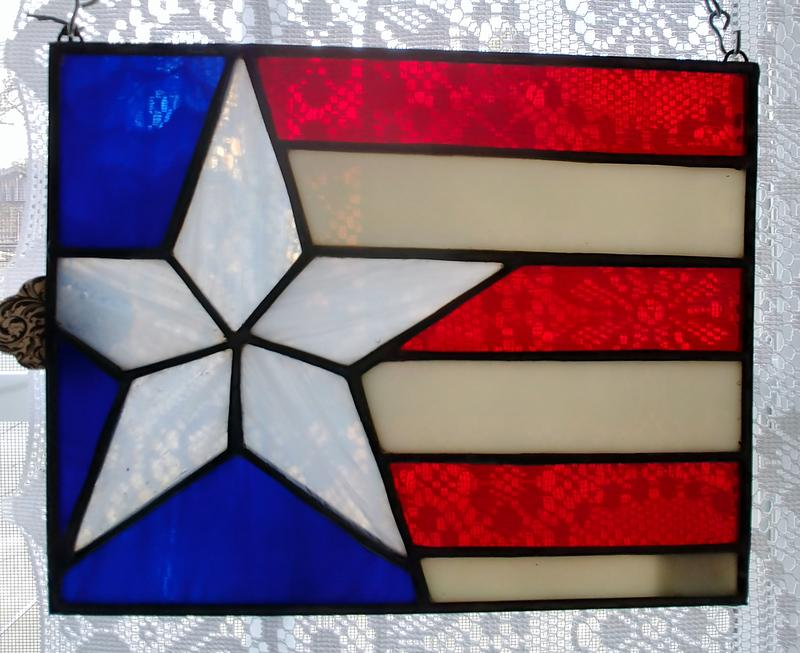 Ozark Folk School Stained Glass Class - July Flag Panel