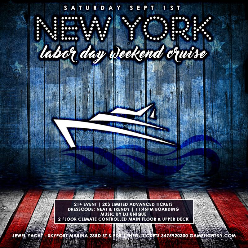 NYC Labor Day Weekend Midnight Cruise Yacht party 2018