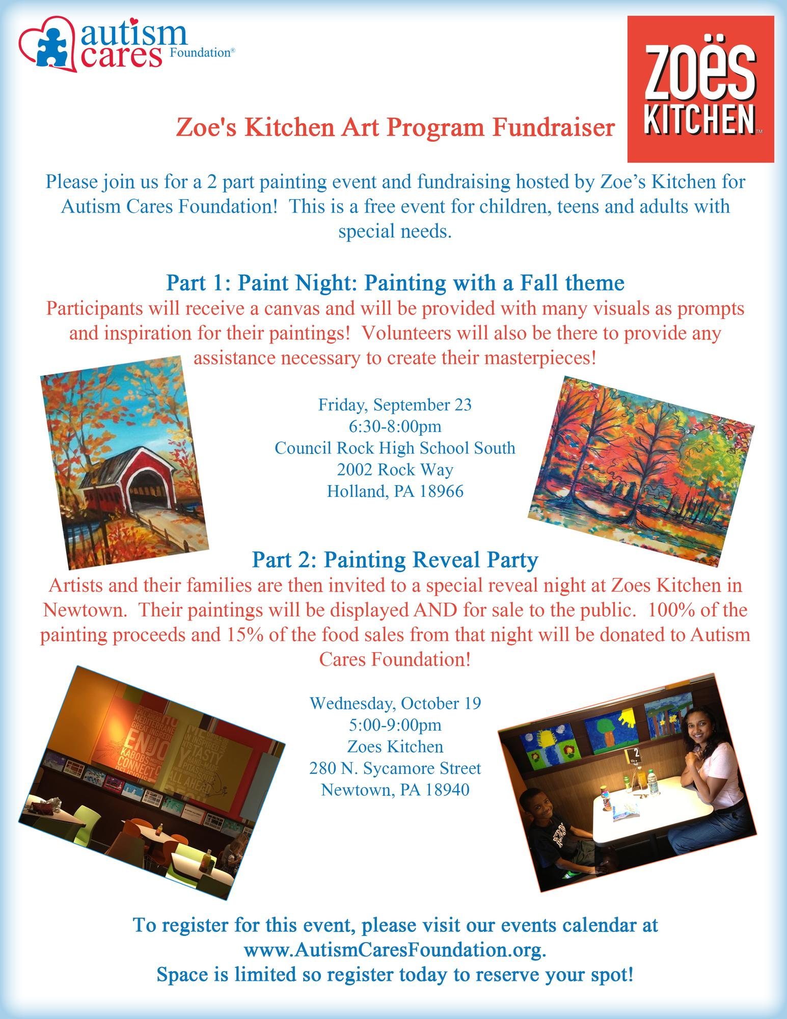 Zoe\'s Kitchen Art Program Fundraiser Tickets in Holland, PA, United ...