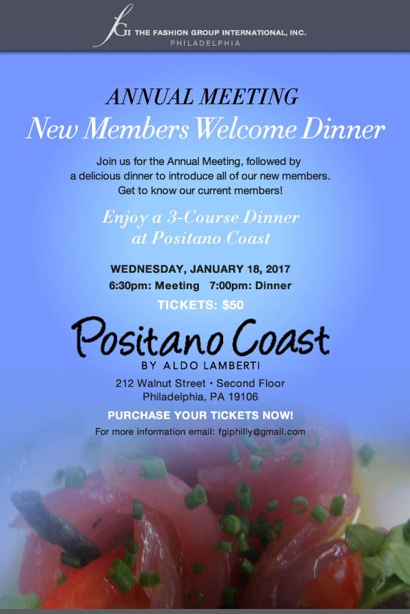 New Members' Welcome Dinner & Annual Meeting Tickets in