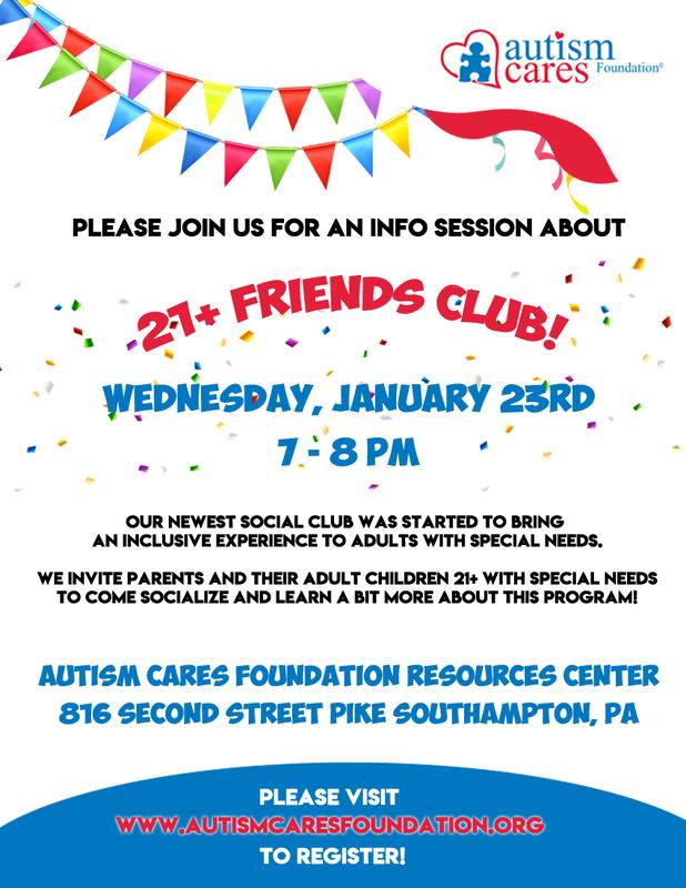 21+ Friends Club Information Session