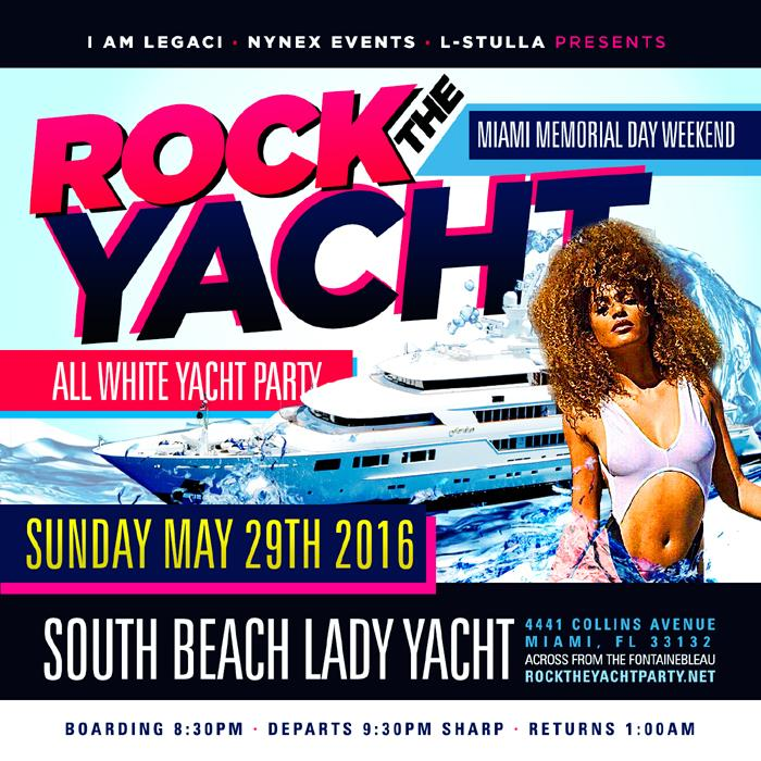 ROCK THE YACHT 2016 MIAMI MEMORIAL DAY WEEKEND ALL WHITE YACHT PARTY