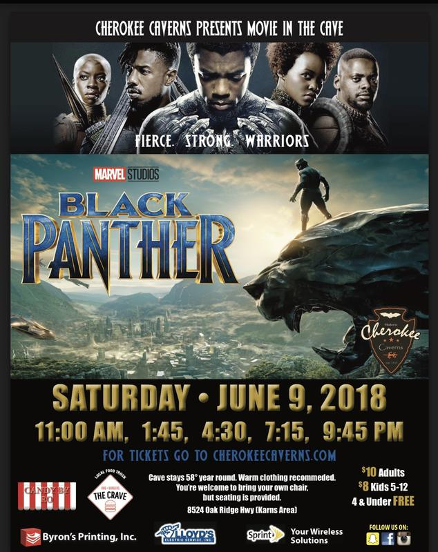 Cherokee Caverns Presents Movie in the Cave~ Black Panther