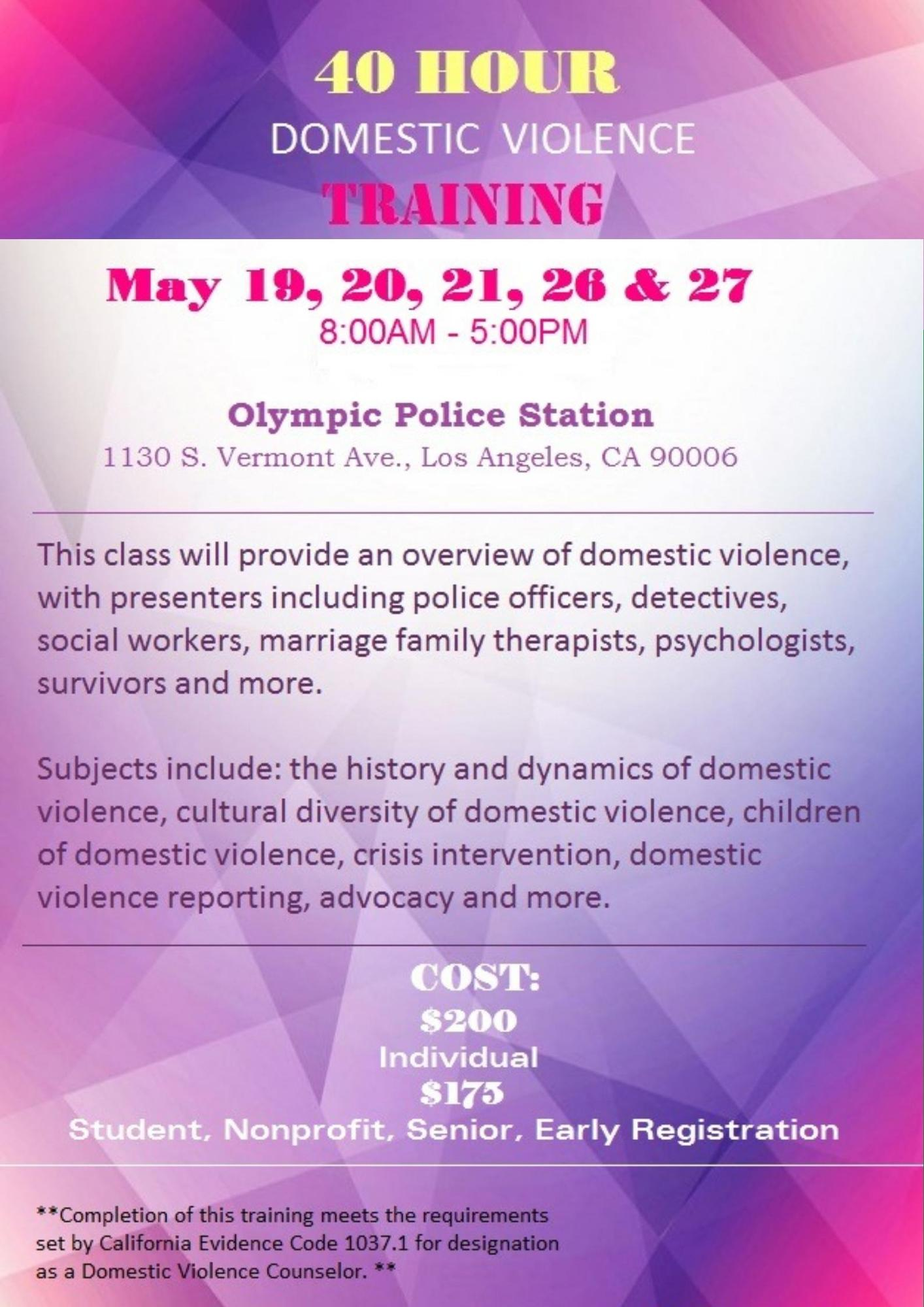 40 Hour Domestic Violence Training In Los Angeles Tickets In Los