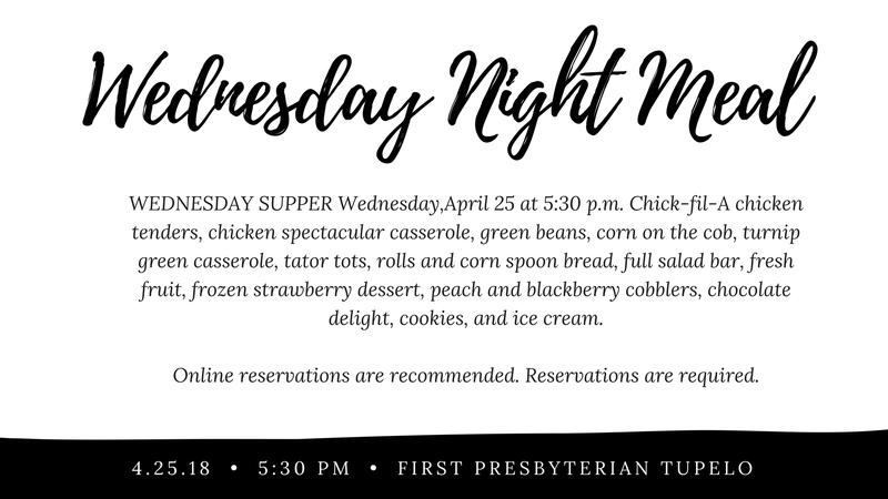 Wendesday Night Meal 4/25/18